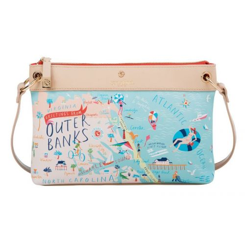 "Spartina 449 ""Greetings From"" Map Crossbody - Outer Banks"